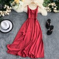 Dress Summer 2020 Red, green, orange S, M Mid length dress singleton  Sleeveless commute V-neck High waist Solid color Socket A-line skirt routine camisole 18-24 years old Type A Korean version 30% and below Chiffon