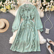 Dress Summer 2020 Black, dark blue, brown, pink, blue, green, watermelon red, yellow, light brown, purple Average size Middle-skirt singleton  Long sleeves commute stand collar High waist Solid color Socket A-line skirt puff sleeve Others 18-24 years old Type A Korean version Fungus, lace up other