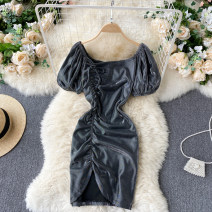 Dress Summer 2021 black M, L Short skirt singleton  Short sleeve commute One word collar High waist Solid color Socket A-line skirt puff sleeve Others 18-24 years old Type A Korean version Pleating 31% (inclusive) - 50% (inclusive) other other