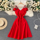 Dress Spring 2021 Black, red S,M,L,XL,2XL Short skirt singleton  commute square neck High waist Solid color Socket A-line skirt Others 18-24 years old Type A Korean version Diamond inlay 31% (inclusive) - 50% (inclusive) other other