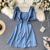 Dress Summer 2020 Black, white, green, blue, cyan, orange S,M,L Middle-skirt singleton  Short sleeve commute square neck High waist Solid color Socket A-line skirt puff sleeve Others 18-24 years old Type A Korean version 31% (inclusive) - 50% (inclusive) other other