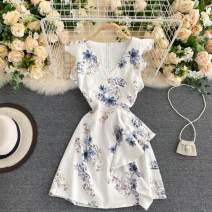 Dress Autumn 2020 White, pink, blue One size fits all Short skirt singleton  commute V-neck High waist Decor Socket A-line skirt Others 18-24 years old Type A Korean version Ruffles, zippers 31% (inclusive) - 50% (inclusive) other other
