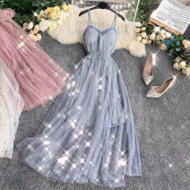 Dress Summer 2020 Average size Mid length dress singleton  Sleeveless commute V-neck High waist Solid color Socket A-line skirt routine camisole 18-24 years old Type A Korean version 30% and below Chiffon