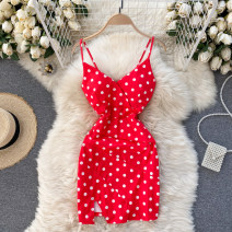 Dress Spring 2021 Black, white, red Average size Short skirt singleton  commute V-neck High waist Dot Socket A-line skirt camisole 18-24 years old Type A Korean version 31% (inclusive) - 50% (inclusive) other other