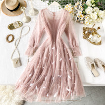Dress Spring 2020 Pink, apricot, lavender, black M, L longuette Two piece set Long sleeves commute Crew neck High waist Solid color Socket A-line skirt puff sleeve Others 18-24 years old Type A Korean version Mesh, zipper 31% (inclusive) - 50% (inclusive) other other