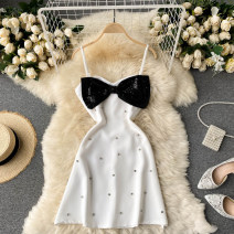 Dress Spring 2021 Black, white M, L Short skirt singleton  commute square neck High waist Solid color Socket A-line skirt camisole 18-24 years old Type A Korean version bow 31% (inclusive) - 50% (inclusive) other other