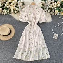 Dress Spring 2021 Apricot S,M,L,XL Short skirt singleton  Short sleeve commute stand collar High waist Decor Socket A-line skirt puff sleeve Others 18-24 years old Type A Korean version Embroidery 31% (inclusive) - 50% (inclusive) other other