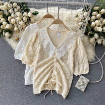 Lace / Chiffon Spring 2021 Apricot, white Average size Short sleeve commute Socket singleton  Self cultivation Regular V-neck Solid color puff sleeve 18-24 years old Korean version 31% (inclusive) - 50% (inclusive)
