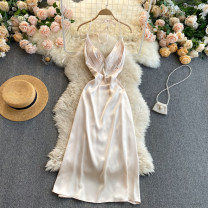 Dress Spring 2021 Apricot S,M,L Middle-skirt singleton  commute V-neck High waist Solid color Socket A-line skirt camisole 18-24 years old Type A Korean version 31% (inclusive) - 50% (inclusive) other other