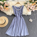Dress Summer 2021 Black, yellow, purple, light green M,L,XL Short skirt singleton  Short sleeve commute square neck High waist Solid color Socket A-line skirt puff sleeve Others 18-24 years old Type A Korean version 31% (inclusive) - 50% (inclusive) other other