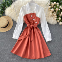Dress Spring 2020 Black, green, red, yellow, orange, ginger, brick red Average size Middle-skirt singleton  Long sleeves commute Polo collar High waist Solid color Socket A-line skirt routine Others 18-24 years old Type A Korean version Lace up, button 31% (inclusive) - 50% (inclusive) other other