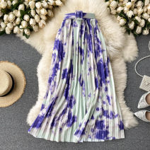 skirt Spring 2021 S,M,L Blue, purple, green, dark brown Mid length dress commute High waist Pleated skirt other Type A 18-24 years old 31% (inclusive) - 50% (inclusive) other other Korean version