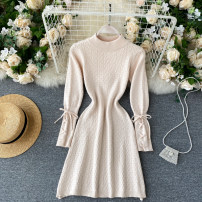 Dress Autumn 2020 Black, apricot, dark grey Average size Short skirt singleton  Long sleeves commute Crew neck High waist Solid color Socket A-line skirt routine Others 18-24 years old Type A Korean version 31% (inclusive) - 50% (inclusive) other other