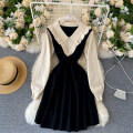 Dress Autumn 2020 Black, red Average size Short skirt singleton  Long sleeves commute V-neck High waist Solid color Socket A-line skirt puff sleeve Others 18-24 years old Type A Korean version 31% (inclusive) - 50% (inclusive) other other