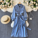 Dress Spring 2021 blue M, L Middle-skirt singleton  Long sleeves commute Polo collar High waist Solid color Socket A-line skirt routine Others 18-24 years old Type A Korean version Pocket, button 31% (inclusive) - 50% (inclusive) other other