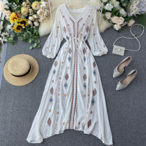 Dress Summer 2020 white M, L longuette singleton  Long sleeves commute V-neck High waist other Socket A-line skirt puff sleeve Others 18-24 years old Type A ethnic style Embroidery, lace up 31% (inclusive) - 50% (inclusive) other other