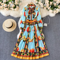 Dress Spring 2021 blue M,L,XL,2XL longuette singleton  Long sleeves commute Crew neck High waist Decor Socket Big swing routine Others 18-24 years old Type A Korean version 31% (inclusive) - 50% (inclusive) other other