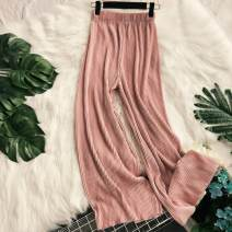 Casual pants Average size Summer 2020 trousers Wide leg pants High waist Versatile routine 18-24 years old 31% (inclusive) - 50% (inclusive) other fold