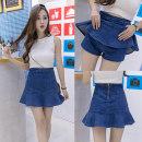 skirt Summer of 2018 S M L XL 2XL 809 blue black Short skirt Versatile High waist Denim skirt Solid color Type A 18-24 years old Denim Ruffle zipper