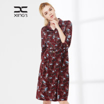 Dress Spring of 2018 Orchid with blue background and red background 38/M 40/L 42/XL 44/2XL 46/3XL 48/4XL Mid length dress singleton  elbow sleeve commute other middle-waisted Decor Socket A-line skirt routine Others 35-39 years old Type H Xing family lady printing XS17C3317326 other polyester fiber