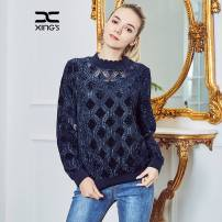T-shirt Blue black 38/M 40/L 42/XL 44/2XL Winter 2017 Long sleeves Half high collar Self cultivation Regular routine commute polyester fiber 96% and above 40-49 years old lady classic Solid color Xing family XS17K83 Lace Polyester 100% Same model in shopping mall (sold online and offline)