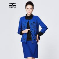 short coat Spring 2016 40 42 44 46 48 Black and white with blue carving three quarter sleeve routine routine singleton  Self cultivation commute routine Crew neck zipper stripe 35-39 years old Xing family 96% and above Splicing XS16G10 polyester fiber
