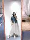 skirt Spring 2021 2/S,4/M,6/L Jacquard skirt - white, jacquard skirt - Navy Mid length dress grace High waist Irregular Solid color Type A 25-29 years old More than 95% magic elli polyester fiber fold