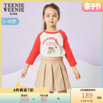 skirt 110 120 130 140 150 khaki teenieweenieKIDS female Cotton 78.1% polyamide fiber (nylon) 18.6% polyurethane elastic fiber (spandex) 3.3% spring and autumn skirt college Pleats cotton TKWH201251B Class B