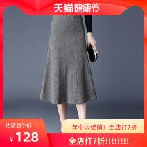 skirt Winter 2020 S,M,L,XL,2XL,3XL,4XL Red, grey, black longuette High waist A-line skirt Other / other zipper