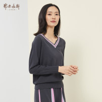 Wool knitwear Spring 2020 155/80A/S 160/84A/M 165/88A/L 170/92A/XL 175/96A/XXL 175/100B/XXXL Black ash Long sleeves singleton  Socket wool More than 95% Regular routine commute V-neck routine Socket lady 25-29 years old Ordos, 1980 Wool 100% Same model in shopping mall (sold online and offline)