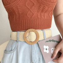 Belt / belt / chain other Round seat belt black and white color matching round seat belt solid color black round seat belt solid color rice round seat belt light brown currency belt Versatile Single loop Middle aged youth Pin buckle Round buckle Embossing 4.3cm weave Song orange SC-1308