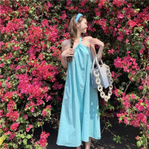 Dress Summer 2021 green Average size Mid length dress singleton  Sleeveless commute Slant collar High waist Solid color Socket other other camisole 18-24 years old Other / other Retro 0418+ 81% (inclusive) - 90% (inclusive)