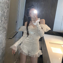 Casual pants Apricot S,M,L Spring 2021 shorts Jumpsuit High waist commute 18-24 years old 0113M Other / other Retro polyester fiber