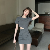 Dress Summer 2020 Picture color Average size Short skirt singleton  Short sleeve commute Crew neck High waist Solid color Socket A-line skirt routine Others 18-24 years old Other / other Retro