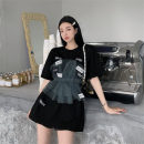 T-shirt White, black Average size Spring 2021 Short sleeve Crew neck easy Medium length routine commute cotton 96% and above 18-24 years old Retro other Solid color Other / other 0330+ Gauze
