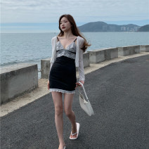 Dress Spring 2021 Suspender skirt, white coat Average size Short skirt Two piece set Sleeveless commute V-neck High waist other Socket A-line skirt other camisole 18-24 years old Other / other Retro Lace 0223+