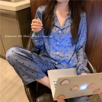 Pajamas / housewear set female Other / other Average size Purple love Iced silk Long sleeves Sweet pajamas autumn routine Small lapel heart-shaped trousers Front buckle 2 pieces rubber string 0923M
