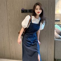 Dress Spring 2021 Top, strap, skirt S,M,L Mid length dress Two piece set Sleeveless commute One word collar High waist Solid color Socket A-line skirt other straps 18-24 years old Other / other Retro 0215+