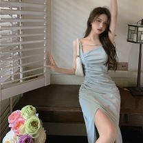 Dress Summer 2021 Gray blue S,M,L Mid length dress singleton  Sleeveless commute One word collar High waist Solid color Socket One pace skirt other camisole 18-24 years old Type H Other / other Retro 0414+