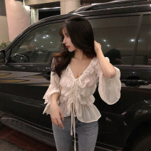 Lace / Chiffon Spring 2021 White, black Average size Long sleeves commute Socket singleton  Self cultivation have cash less than that is registered in the accounts V-neck Solid color pagoda sleeve 18-24 years old Other / other 0308+ Retro