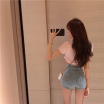 Jeans Spring 2021 blue S,M,L shorts High waist Straight pants routine 18-24 years old zipper light colour 0302+ Other / other