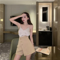 skirt Spring 2021 S, M 8917 apricot suspender, 8917 black suspender, 8918 apricot skirt, 8918 grey skirt Short skirt commute High waist A-line skirt Solid color 18-24 years old 0225+ 30% and below Other / other cotton Retro