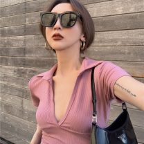 T-shirt Grey, black, pink, coffee Average size Spring 2021 Long sleeves V-neck Self cultivation have cash less than that is registered in the accounts routine commute other 51% (inclusive) - 70% (inclusive) 18-24 years old Retro other Solid color Other / other 0226+
