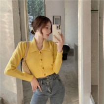 sweater Spring 2021 Average size Cream yellow Long sleeves Cardigan singleton  have cash less than that is registered in the accounts other 51% (inclusive) - 70% (inclusive) Polo collar Regular commute routine Solid color Self cultivation Keep warm and warm 18-24 years old Other / other 0120+