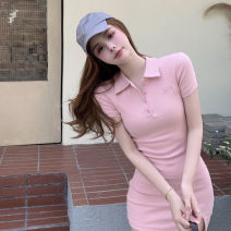 Dress Spring 2021 Gray, white, pink Average size Short skirt singleton  Short sleeve commute Polo collar High waist Solid color Socket A-line skirt routine Others 18-24 years old Type X Other / other Retro 0401+ 51% (inclusive) - 70% (inclusive) polyester fiber