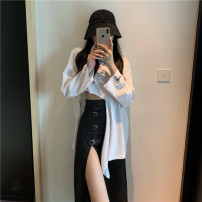 skirt Spring 2021 S. M, l, average size White T-shirt, black skirt Mid length dress commute High waist A-line skirt Solid color 18-24 years old 0216+ Other / other Retro