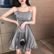 Dress Spring 2020 Grey, white S,M,L Short skirt singleton  Sleeveless commute One word collar High waist Solid color Socket Big swing other camisole 18-24 years old Other / other Retro backless