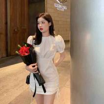Dress Summer 2020 White, black S, M Short skirt singleton  Short sleeve commute Crew neck High waist Solid color A-line skirt puff sleeve 18-24 years old Other / other Retro five hundred and twenty-three