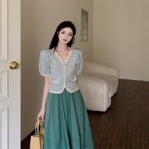 skirt Summer 2021 S. M, average size Top, skirt Mid length dress commute High waist A-line skirt Solid color 18-24 years old 0415+ Other / other polyester fiber Retro