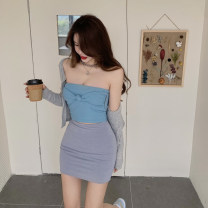 skirt Spring 2021 Average size Short skirt commute High waist skirt Solid color 18-24 years old 0304+ Other / other Retro